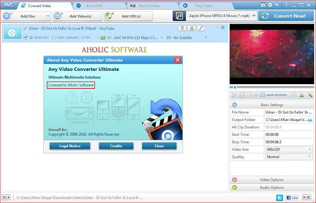 Any Video Converter Ultimate is an advance feature video converter with support for a wide range of formats, which can also be used to download online video clips.