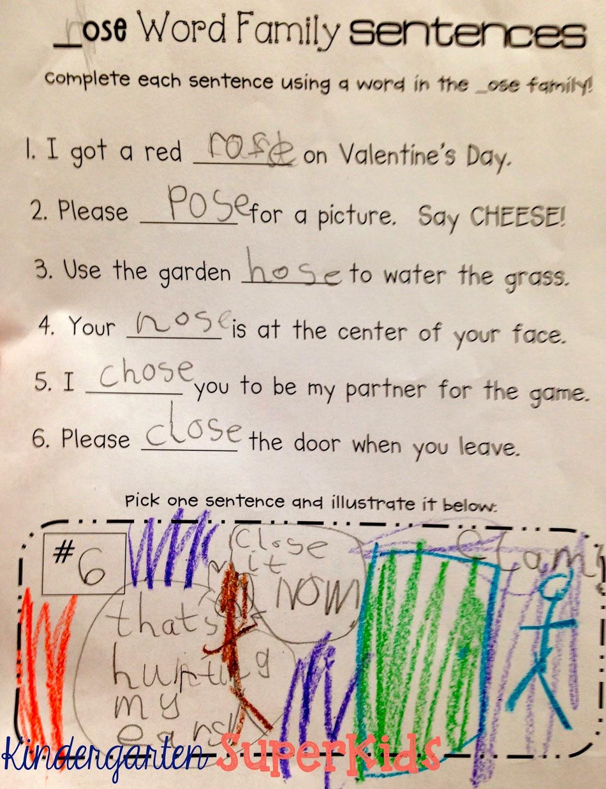 Kindergarten Superkids An Advanced Word Family Activity Word Family Sentences