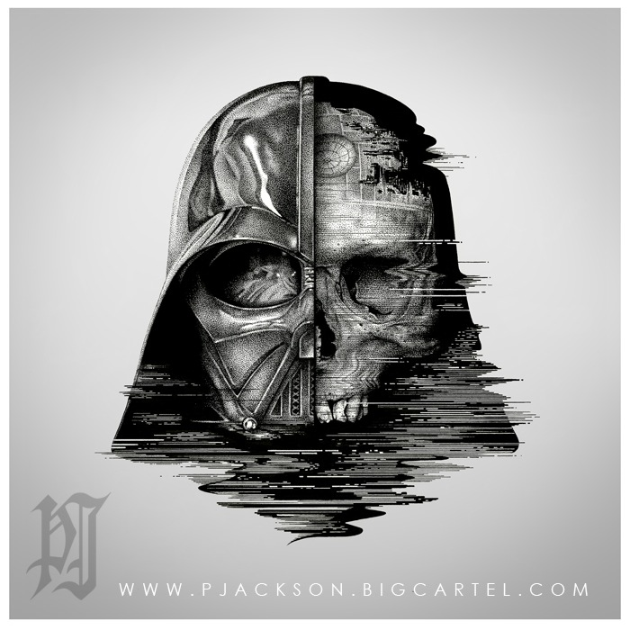 01-Star-Wars-Death-Vader-Paul-Jackson-Star-Wars-Miniature-Drawings-www-designstack-co