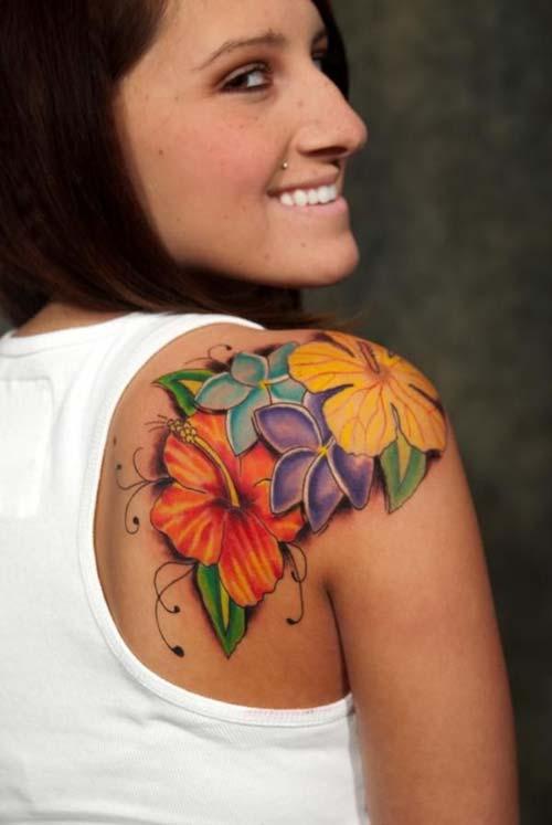 renkli çiçekler kadın omuz dövmeleri colorful flowers woman shoulder tattoos