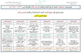 جدول توزيع جميع مواد الصف الرابع الابتدائى الفصل الدراسى الاول  التعليم السعودى
