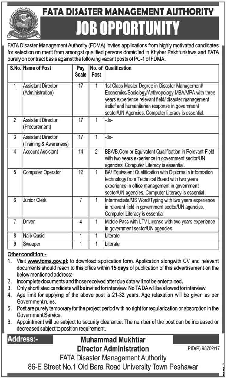 FATA Disaster Management Authority Peshawar 10+ FDMA Jobs 2017