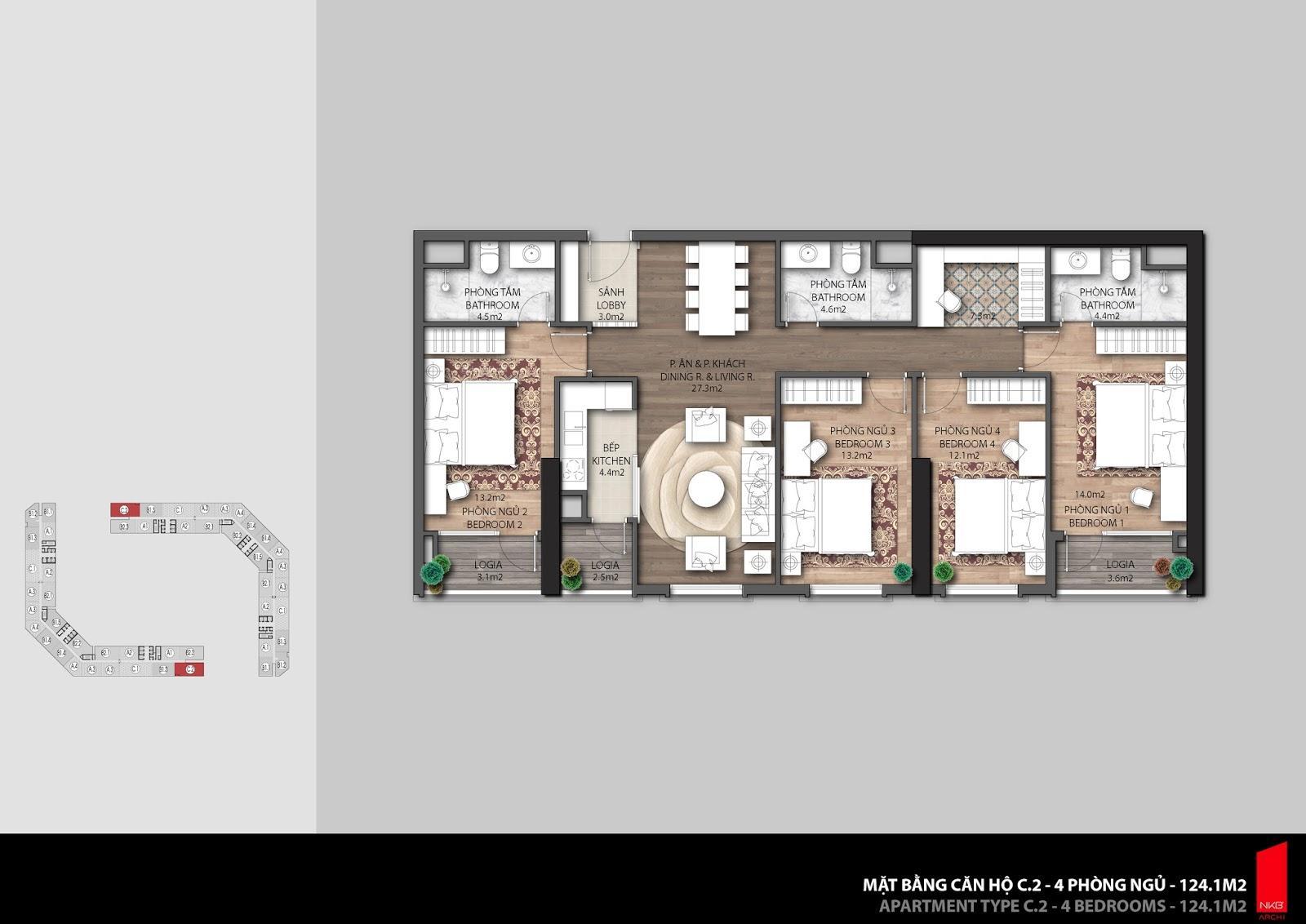 Mặt bằng căn hộ 124,1m2