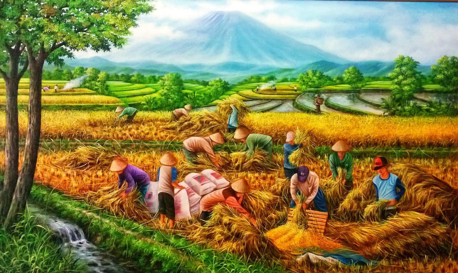 dunia lukisan javadesindo art gallery u0026gt u0026gt lukisan panen padi dengan pemandangan alam menghampar