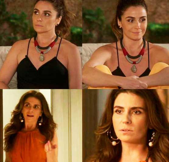 Alice (Giovana Antonelli) colar e brinco Sol Nascente
