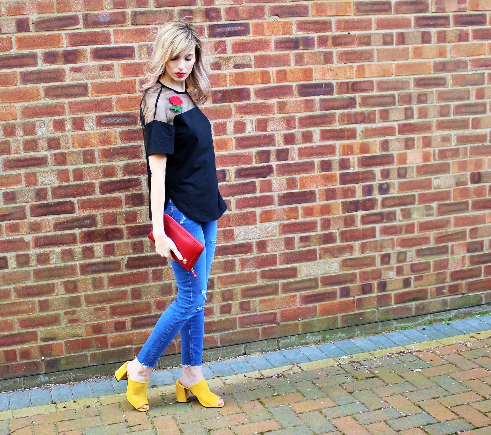 Colourful OOTD featuring embroidery, raw hem jeans and yellow mules - 4