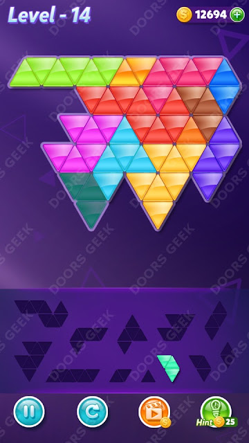 Block! Triangle Puzzle 12 Mania Level 14 Solution, Cheats, Walkthrough for Android, iPhone, iPad and iPod