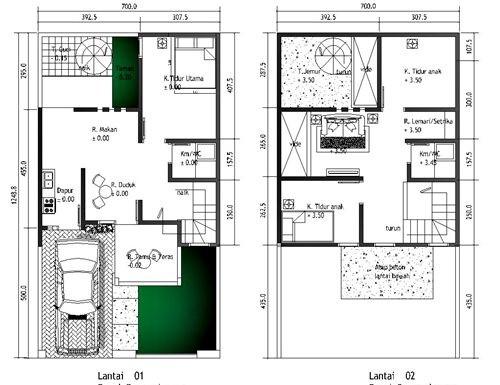 gambar denah rumah minimalis 2 lantai type 36 1