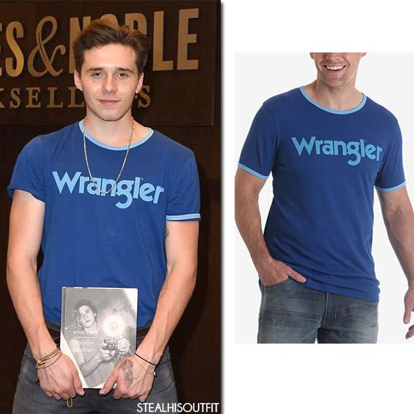 Brooklyn Beckham in blue Wrangler mens t-shirt stealhisoutfit august 2 2017