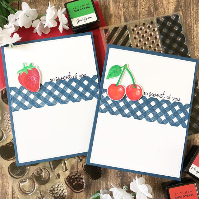 Sunny Studio Stamps: Berry Bliss Background Basics Customer Card by Dana Kirby
