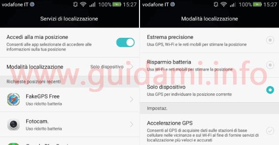 Android modalità localizzazione Solo dispositivo