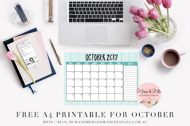 Free A4 Printable Calendar for September 2017 from Mum and Me Handmade Designs
