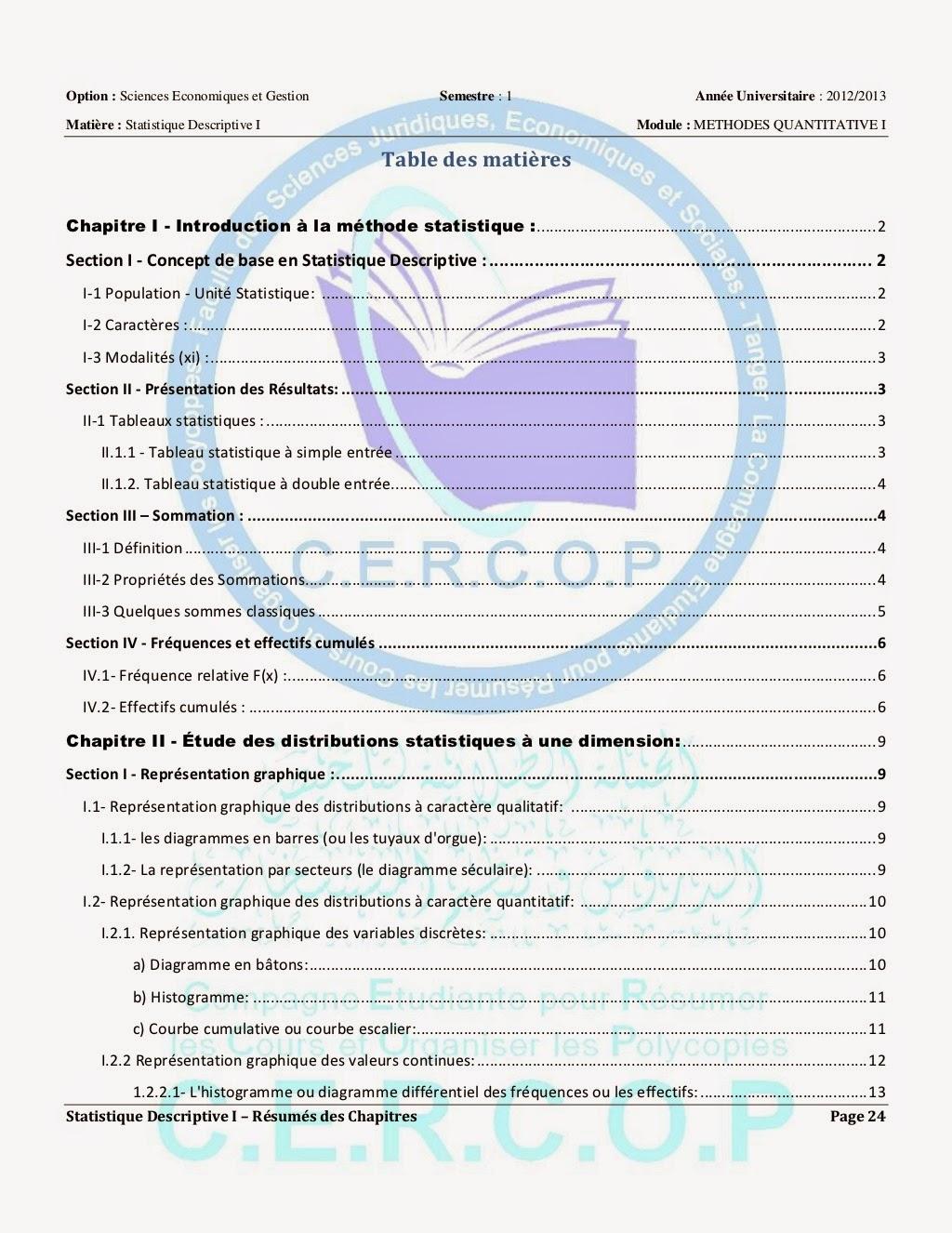 Resumes Des Chapitres Statistique Descriptive S1 Fsjes T Anger Cours Resume Exercices Examens