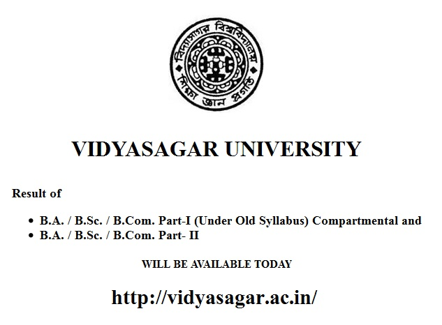 Vidyasagar University B.A. / B.Sc. / B.Com. Part- II Results 2015 Today