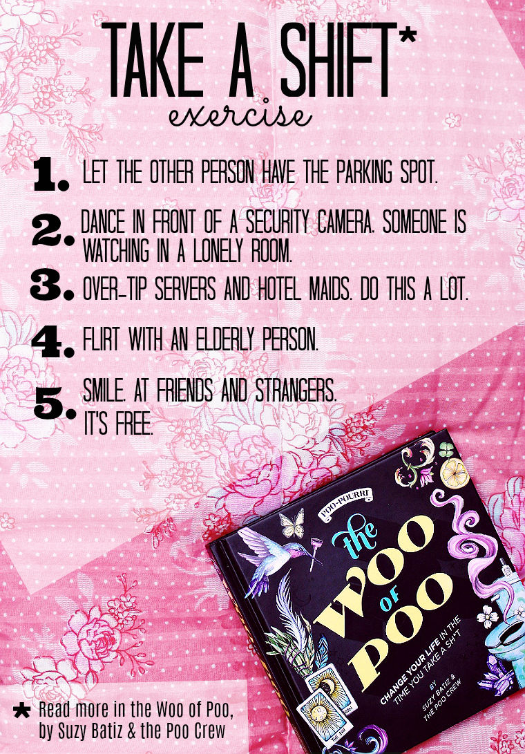 Take a time out to tackle 1 or 2 of these easy steps to be a champion on behalf of the universe and brighter a strangers day. Find more fun hacks and tips in #thewooofpoo on Amazon. #AD