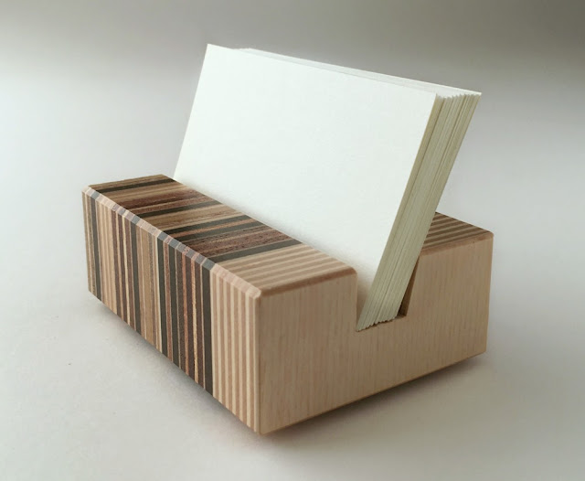 Striped Recycled Wood Business Card Holder