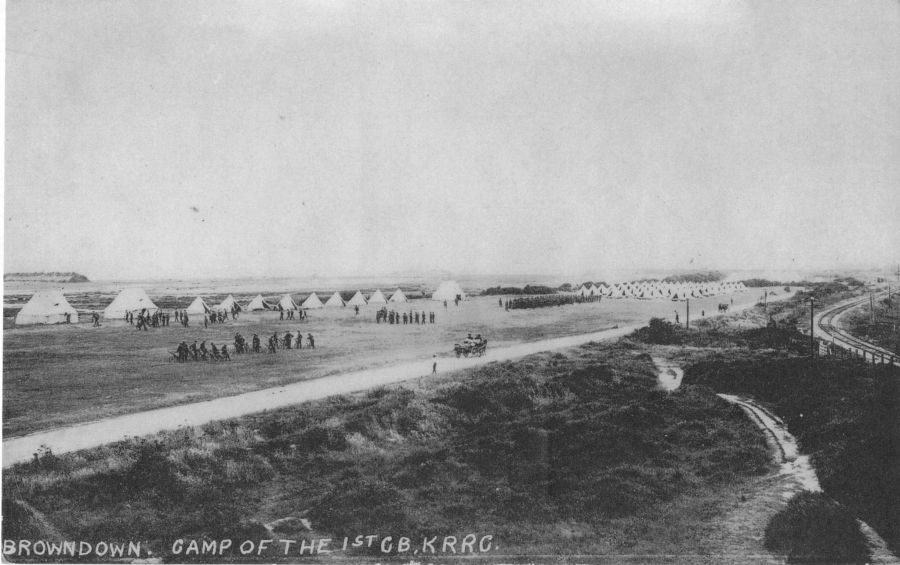 Browndown. Camp of the 1st GB KRRB