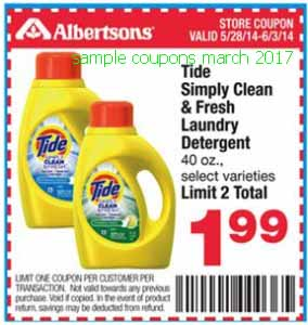 free Tide coupons for march 2017