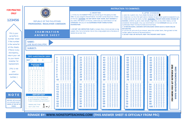 photograph regarding Scantron Sheet Printable referred to as Contemporary PRC Pattern Remedy Sheet for Allow for - NON-Close Training