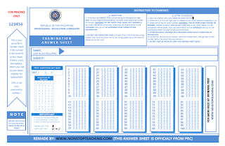 New PRC Sample Answer Sheet for LET - NON-STOP TEACHING