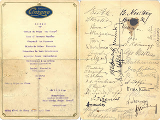 A dinner menu from the Grand Hotel in Genoa signed by members of the Russian and German delegations