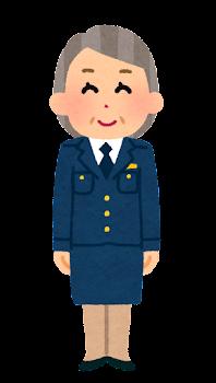 警察官のイラスト(女性・制帽なし・スカート・老人)