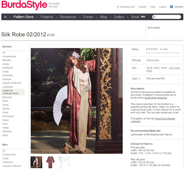 Burdastyle 02/2012 Silk Robe sewing pattern