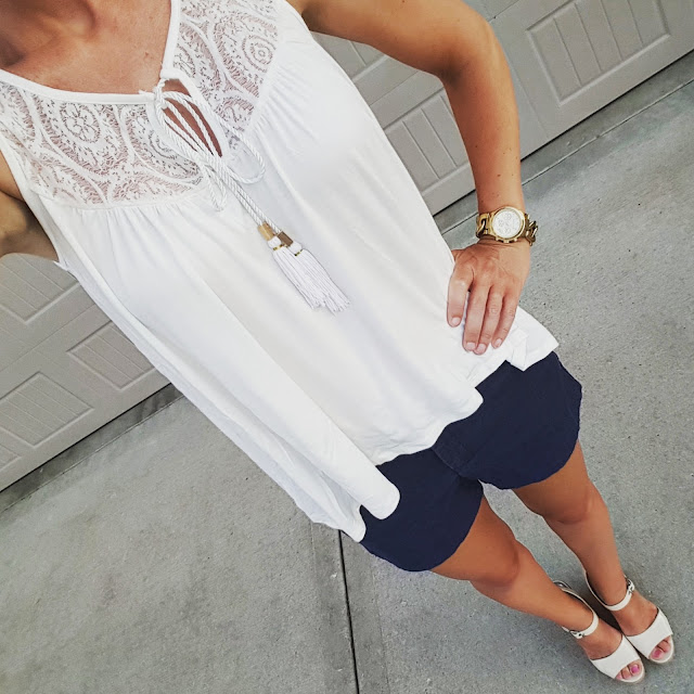 Lily Star Tassel Tank Top - on sale for $16! // Banana Republic Factory Shorts (similar) // Charles by Charles David Wedges (similar) // Michael Kors Twist Runway Watch