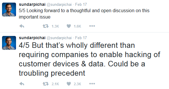 Sundar Pichai Google CEO Apple backdoor encryption security tweets statement