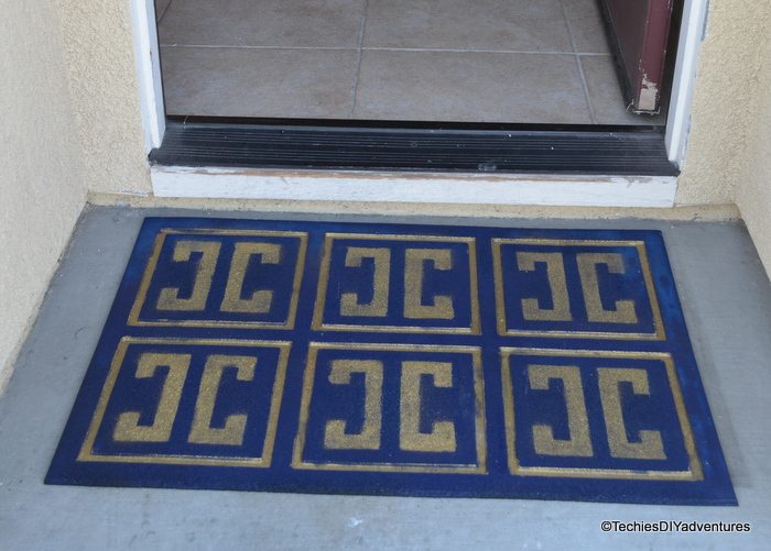 Blue and Gold Spray Painted Rubber Mat