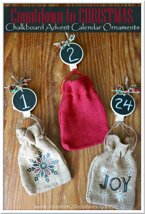 DIY Advent Calendar Countdown to Christmas Chalkboard Ornaments Craft How-To  |  www.3Garnets2Sapphires.com