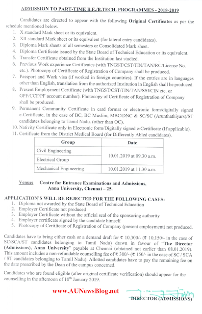Anna University B.E/B.Tech Part Time Admission 2019 Certificate Verification Schedule