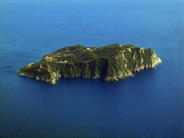 Island of Gorgona seen from a plane, Livorno