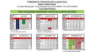 Kalender Pendidikan (Kaldik) Provinsi Riau Tahun 2019/2020