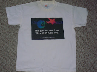 "Retro Vertigo Gaming t-shirt: ""The games are free, this shirt was not"""