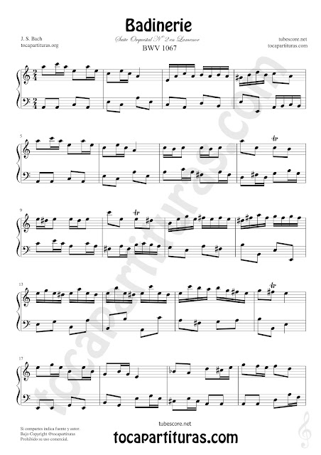 Badinerie Partitura de Piano en La Menor Tonalidad Fácil Sheet Music for Piano in A minor