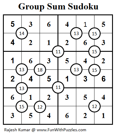 Group Sum Sudoku (Mini Sudoku Series #22) Solution