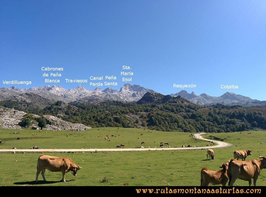 Travesía Pan de Carmen, Jou Santo, Vega de Justigallar: Preciosa vista del Macizo Occidental de Picos de Europa