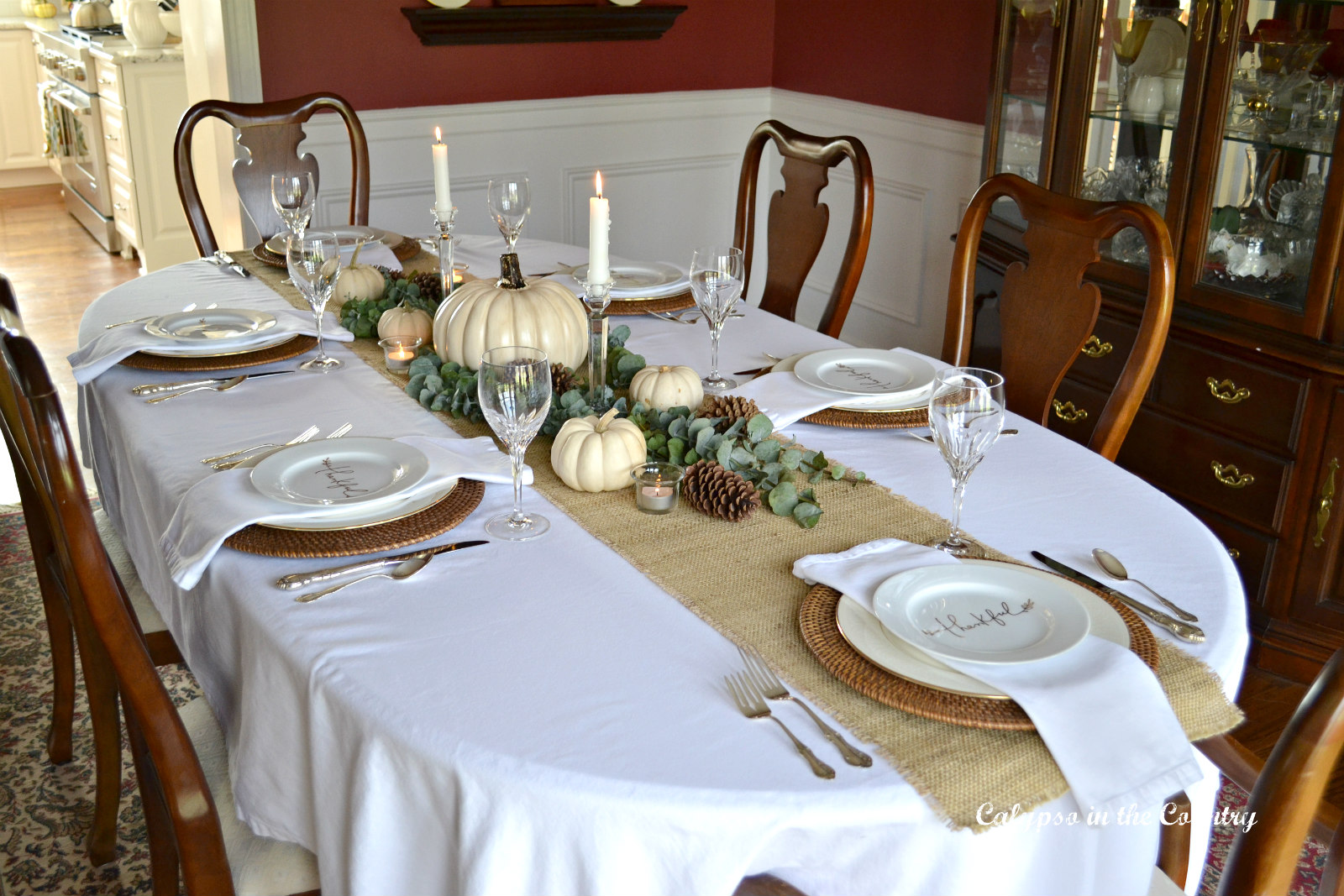 Formal Thanksgiving Table Setting in the Dining Room