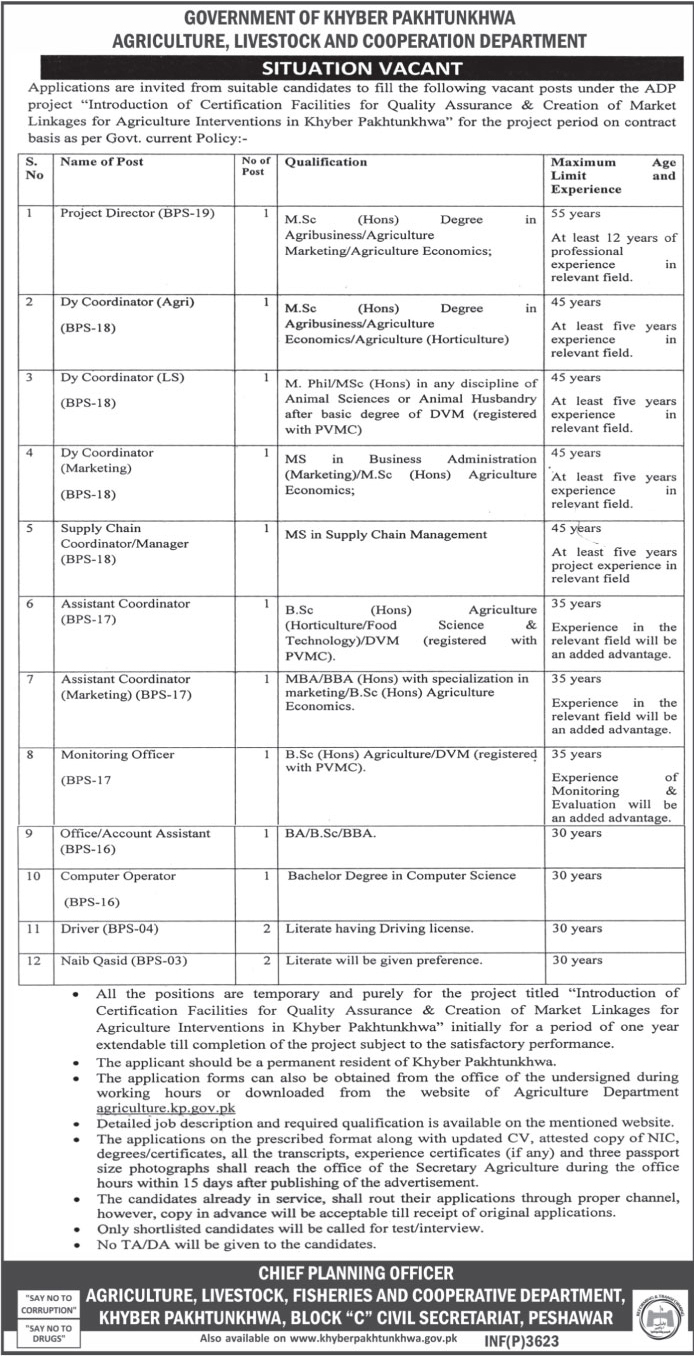 Jobs in KPK Agriculture, Livestock and Cooperation Department 29 July 2017.