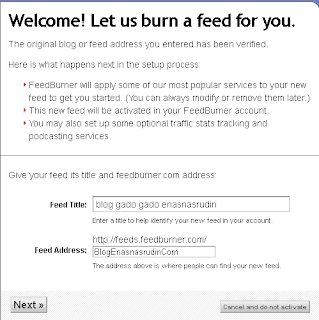 cara mendaftar blog ke rss feedburner google