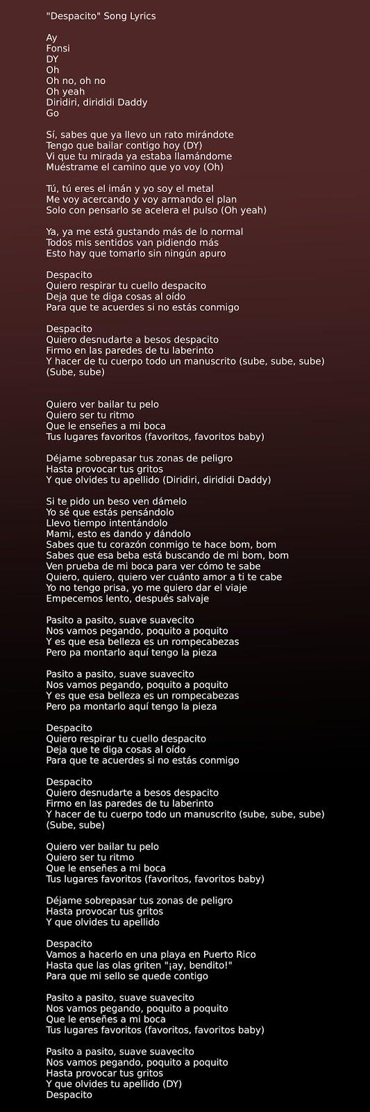 Luis Fonsi - Despacito ft. Daddy Yankee Song Lyrics in image