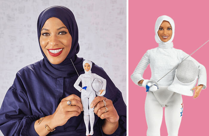 Barbie Introduces 17 New Dolls Based On Inspirational Women Such As Frida Kahlo And Amelia Earhart - Ibtihaj Muhammad, Fencing Champion