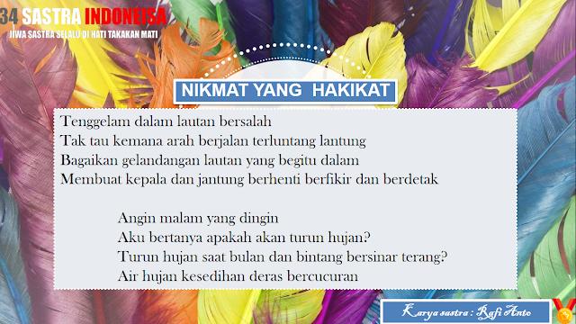 Puisi Kehidupan Manusia Nikmat Yang Hakikat | 34 Sastra Indonesia