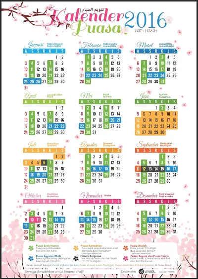 Kalender Puasa dan Jadwal Imsakiyah 1437 H / 2016 M Seluruh Indonesia