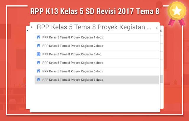 RPP K13 Kelas 5 SD Revisi 2017 Tema 8
