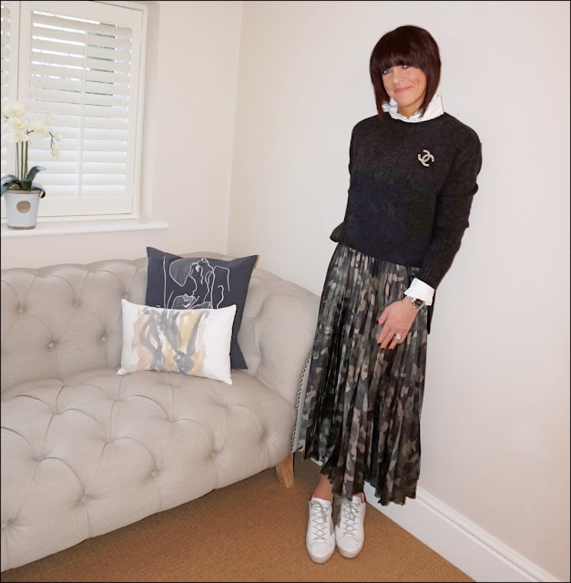 My Midlife Fashion, Chanel vintage brooch, h&M crew neck jumper, uniqlo ruffle high collar shirt, asos satin pleated midi camo skirt, golden goose superstar trainers