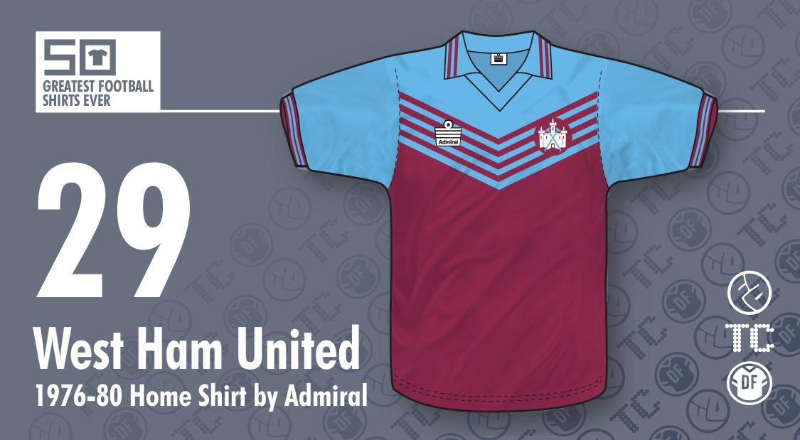 50GFSE   29 - West Ham United 1976-80 Home Shirt by Admiral ~ The ... b53edef9c
