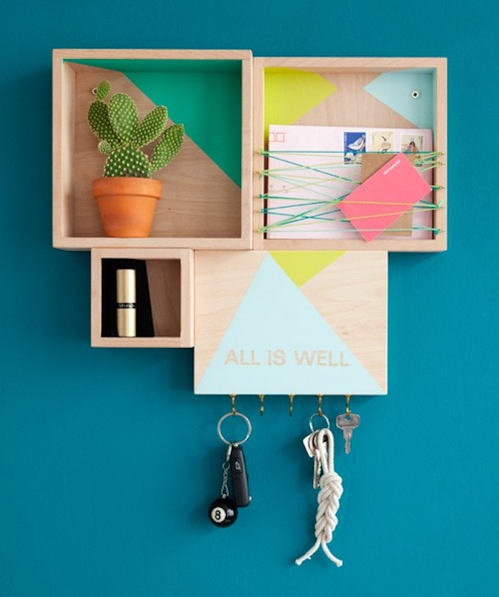 Organizador pared con cajas de madera