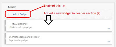 how to add a new gadget in header section in blogger